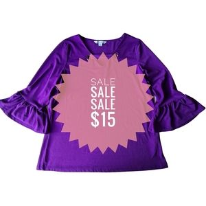 Rockmans Purple 3/4 Sleeve Flared Sleeve Top Blouse Size Large